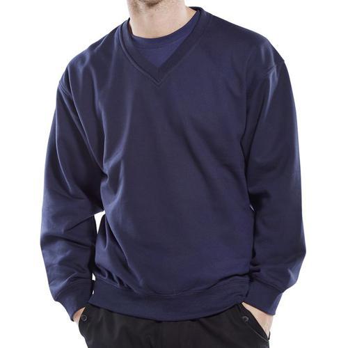 Click Workwear Sweatshirt V-Neck Polycotton 300gsm 3XL Navy Blue Ref CLVPCSNXXXL *Up to 3 Day Leadtime*