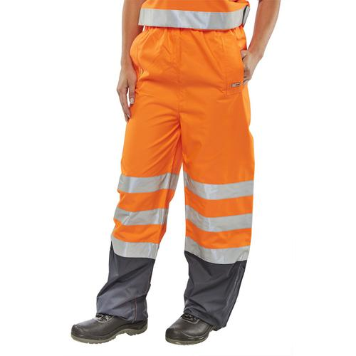 B-Seen Belfry Over Trousers Polyester Hi-Vis XL Orange/Navy Blue Ref BETORNXL *Up to 3 Day Leadtime*