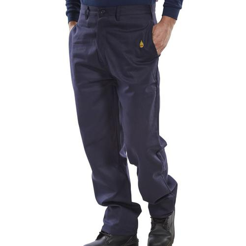 Click Fire Retardant Trousers 300g Cotton 40 Navy Blue Ref CFRTN40 *Up to 3 Day Leadtime*