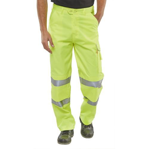 BSeen Trousers Polycotton Hi-Vis EN471 Saturn Yellow 36 Long Ref PCTENSY36T *Up to 3 Day Leadtime*