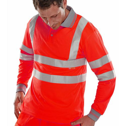 B-Seen Polo Long Sleeved Hi-Vis EN ISO20471 S Red Ref BPKSLSENRES *Up to 3 Day Leadtime*