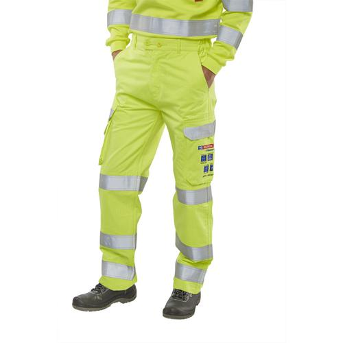 Click Arc Flash Trousers Fire Retardant Hi-Vis Yellow/Navy 40 Ref CARC5SY40 *Up to 3 Day Leadtime*