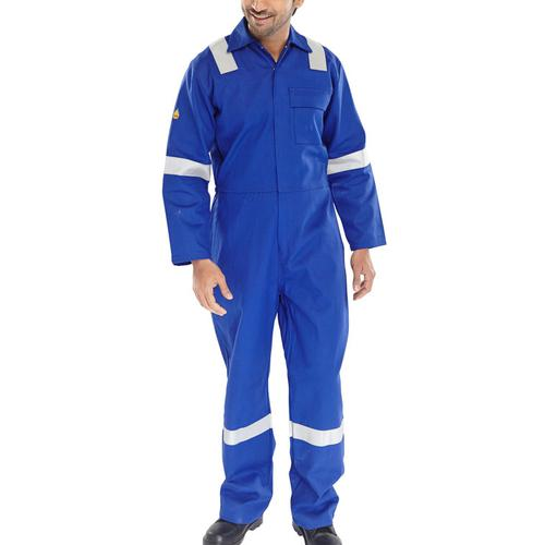 Click Fire Retardant Boilersuit Nordic Design Cotton 38 Royal Blue Ref CFRBSNDR38 *Up to 3 Day Leadtime*
