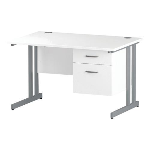 Trexus Rectangular Desk Silver Cantilever Leg 1200x800mm Fixed Pedestal 2 Drawers White Ref I002205