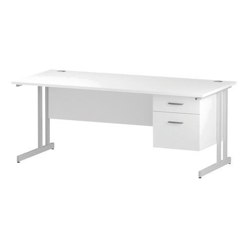 Trexus Rectangular Desk White Cantilever Leg 1800x800mm Fixed Pedestal 2 Drawers White Ref I002212
