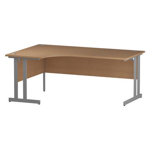 Trexus Radial Desk Left Hand Silver Cantilever Leg 1800mm Oak Ref I000824