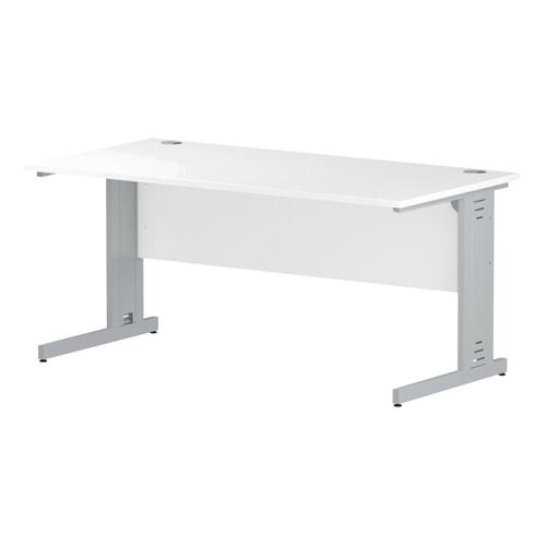 Trexus Rectangular Desk White Cable Managed Leg 1600x800mm White Ref I002273