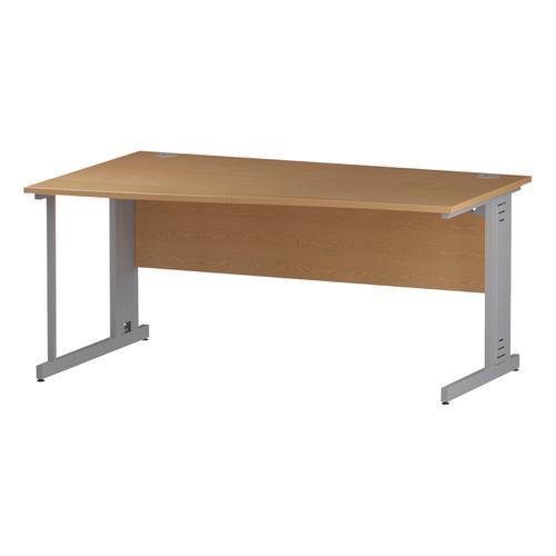 Trexus Wave Desk Left Hand Silver Cable Managed Leg 1600mm Oak Ref I000856