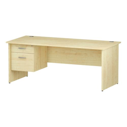 Trexus Rectangular Desk Panel End Leg 1800x800mm Fixed Pedestal 2 Drawers Maple Ref I002479