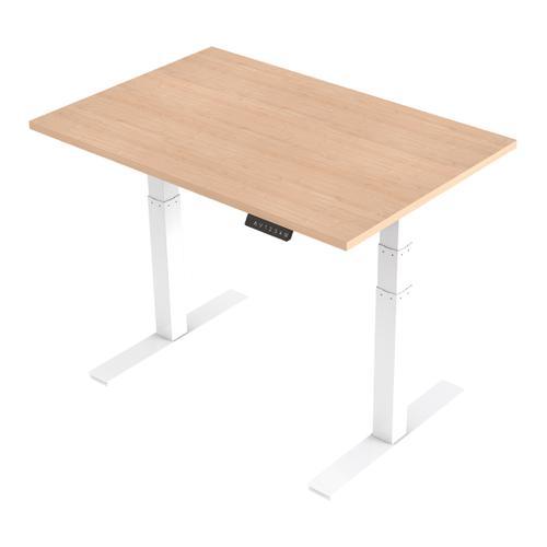 Trexus Sit Stand Desk Height-adjustable White Leg Frame 1200/800mm Maple Ref HA01033