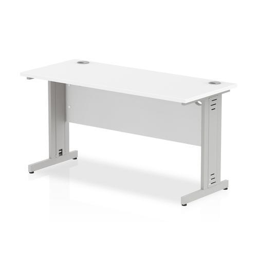 Trexus Desk Rectangle Cable Managed Silver Leg 1400x600mm White Ref MI002277