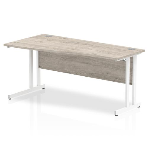 Trexus Wave Desk Left Hand White Cantilever Leg 1600mm Grey Oak Ref I003116