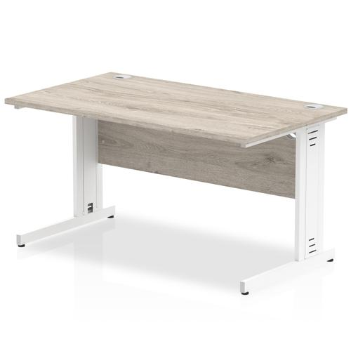 Trexus Rectangular Desk White Cable Managed Leg 1200x800mm Grey Oak Ref I003101