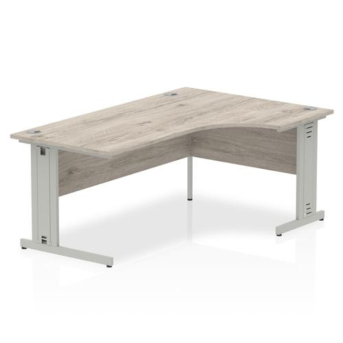 Trexus Radial Desk Right Hand Silver Cable Managed Leg 1800mm Grey Oak Ref I003144