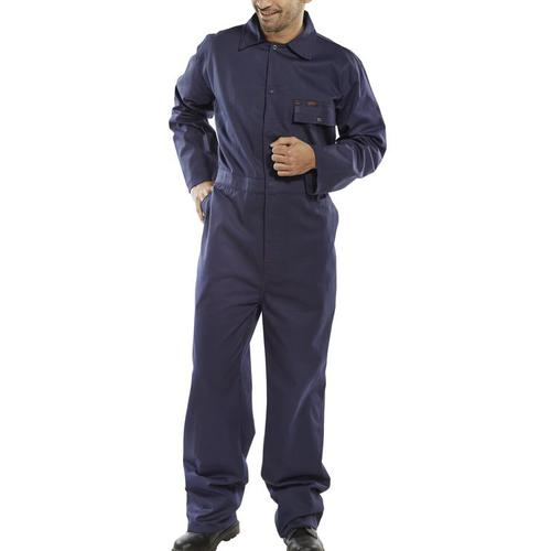 Click Workwear Cotton Drill Boilersuit Size 48 Navy Blue Ref CDBSN48 *Up to 3 Day Leadtime*