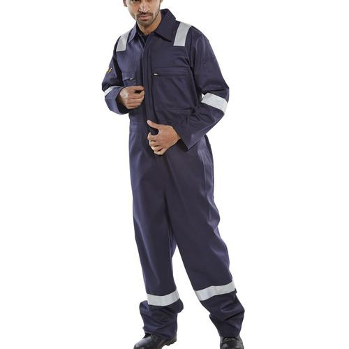 Click Fire Retardant Burgan Boilersuit Anti-Static Size 52 Navy Ref CFRASBBSN52 *Up to 3 Day Leadtime*