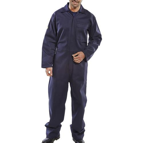 Click Fire Retardant Boilersuit Cotton Size 36 Navy Blue Ref CFRBSN36 *Up to 3 Day Leadtime*