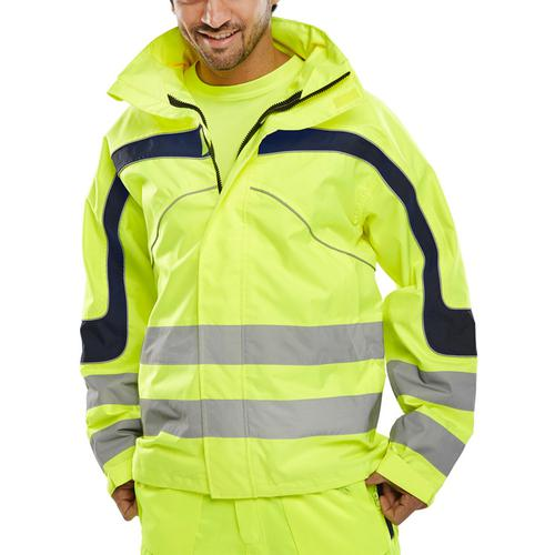 B-Seen Eton High Visibility Breathable EN471 Jacket 6XL Sat/Yellow Ref ET45SY6XL *Up to 3 Day Leadtime*