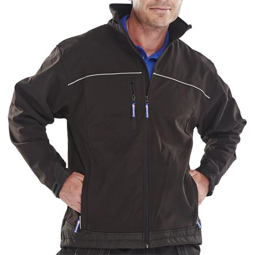 Click Workwear Soft Shell Jacket Water Resistant Windproof 6XL Black Ref SSJBL6XL *Up to 3 Day Leadtime*