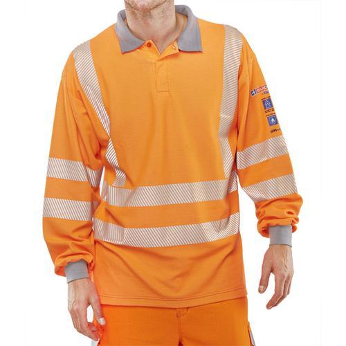 Click Arc Flash Polo Shirt Hi-Vis GO/RT Fire Retardant 4XL Orange Ref CARC51OR4XL *Up to 3 Day Leadtime*