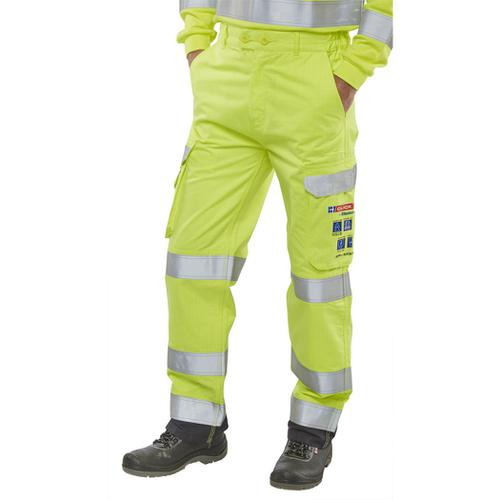 Click Arc Flash Trousers Fire Retardant Hi-Vis Yellow/Navy 32-Tall Ref CARC5SYN32T *Up to 3 Day Leadtime*