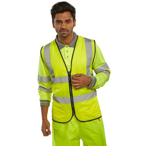 B-Seen High Visibility Waistcoat Zip Fasten 4XL Saturn Yellow Ref WCENGSYZ4XL *Up to 3 Day Leadtime*