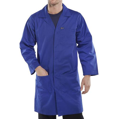 Click Workwear Poly Cotton Warehouse Coat 44in Royal Blue Ref PCWCR44 *Up to 3 Day Leadtime*