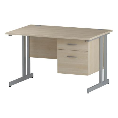 Trexus Rectangular Desk Silver Cantilever Leg 1200x800mm Fixed Pedestal 2 Drawers Maple Ref I002431