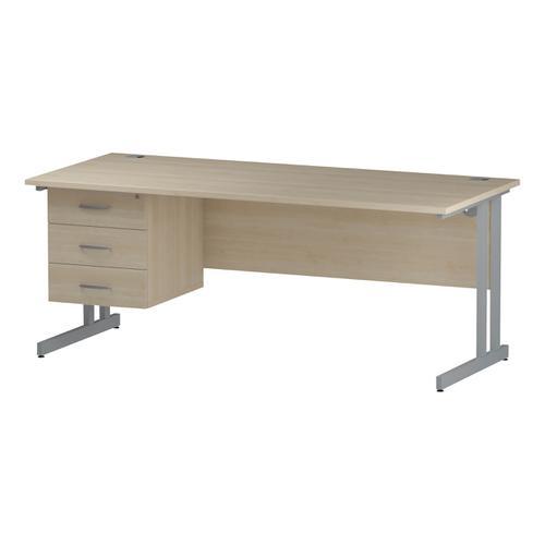 Trexus Rectangular Desk Silver Cantilever Leg 1800x800mm Fixed Pedestal 3 Drawers Maple Ref I002442
