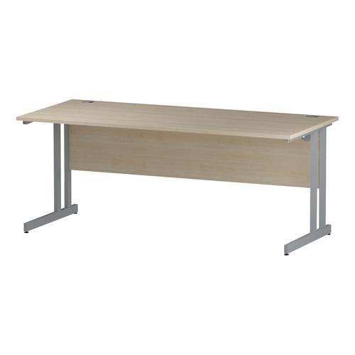 Trexus Rectangular Slim Desk Silver Cantilever Leg 1800x600mm Maple Ref I002425