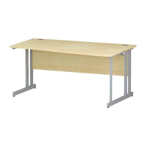 Trexus Wave Desk Right Hand Silver Cantilever Leg 1600mm Maple Ref I000356