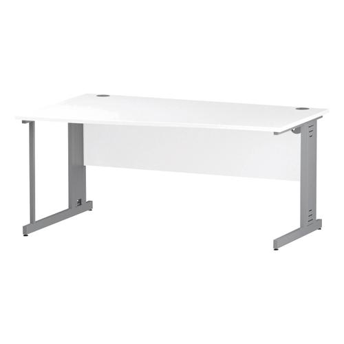 Trexus Wave Desk Left Hand Silver Cable Managed Leg 1600mm White Ref I000484
