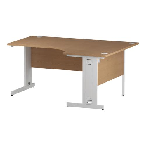 Trexus Radial Desk Right Hand White Cable Managed Leg 1600/1200mm Oak Ref I002849
