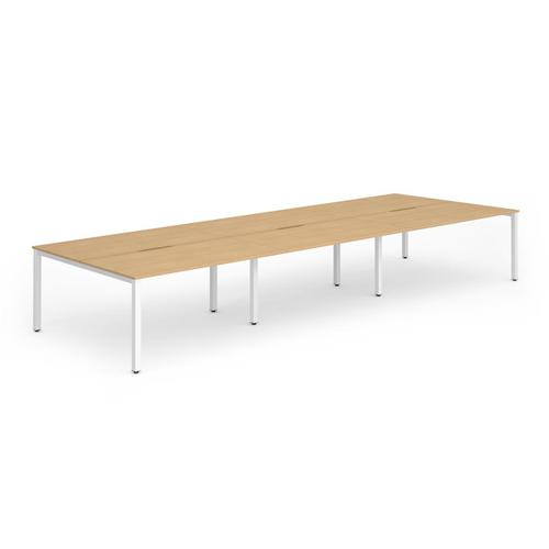 Trexus Bench Desk 6 Person Back to Back Configuration White Leg 4200x1600mm Beech Ref BE277