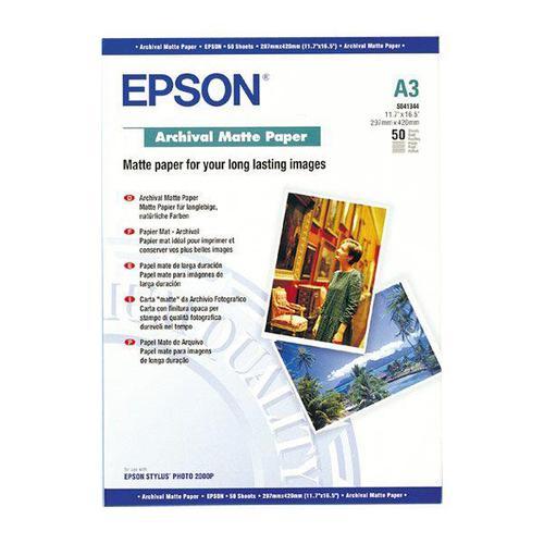 Epson Archival Matte Paper 189gsm A3 Ref C13S041344 [50 Sheets]