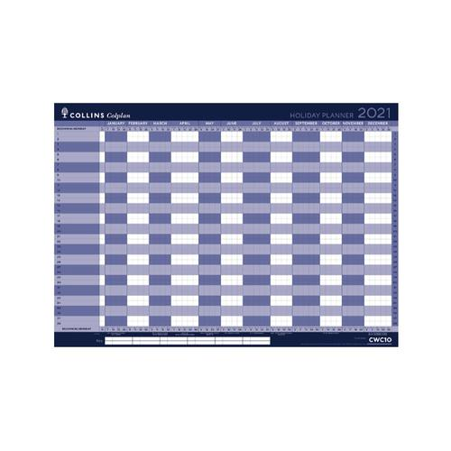 Collins Colplan 2021 Holiday Wall Planner Unmounted Landscape A1 594x840mm Blue Ref CWC10 2021
