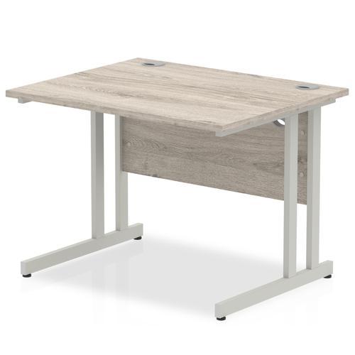 Trexus Rectangular Desk Silver Cantilever Leg 1000x800mm Grey Oak Ref I003062