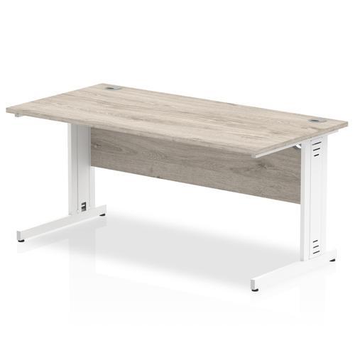 Trexus Rectangular Desk White Cable Managed Leg 1400x800mm Grey Oak Ref I003105