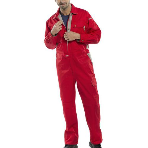Click Premium Boilersuit 250gsm Polycotton Size 40 Red Ref CPCRE40 *Up to 3 Day Leadtime*