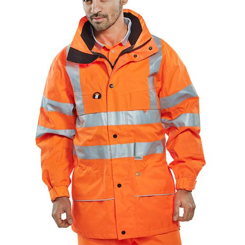 B-Seen High Visibility Carnoustie Jacket XL Orange Ref CARORXL *Up to 3 Day Leadtime*