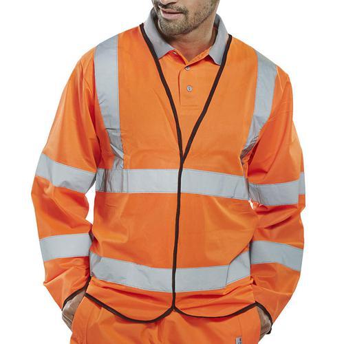 B-Seen High Visibility Long Sleeve Jerkin 4XL Orange Ref PKJENGOR4XL *Up to 3 Day Leadtime*