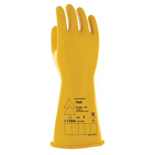 Ansell Low Voltage Electrical Insulating Gloves (Class 0) Yellow M Ref ANE014YM *Up to 3 Day Leadtime*