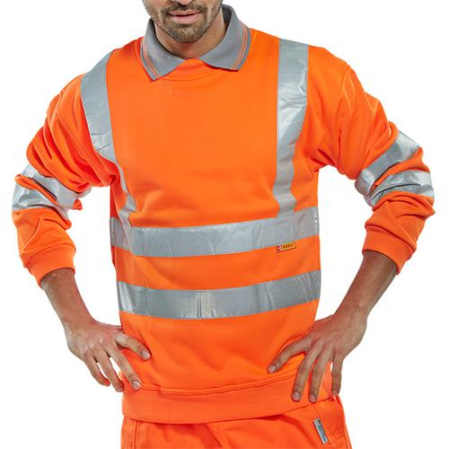 B-Seen Sweatshirt Hi-Vis Polyester 280gsm 3XL Orange Ref BSSENORXXXL *Up to 3 Day Leadtime*