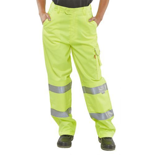 B-Seen Ladies Trousers Teflon EN20471 Saturn Yellow 34 Ref LPCTENSY34 *Up to 3 Day Leadtime*