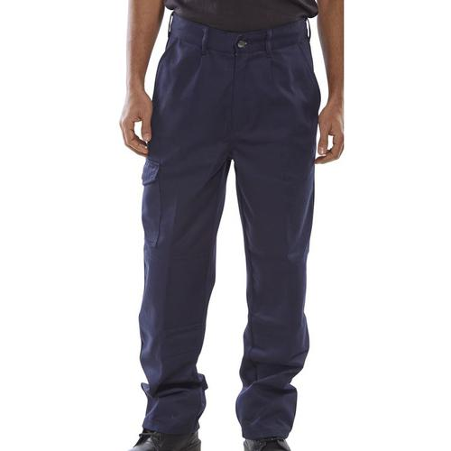 Click Heavyweight Drivers Trousers Flap Pockets Navy Blue 48 Long Ref PCT9N48T *Up to 3 Day Leadtime*