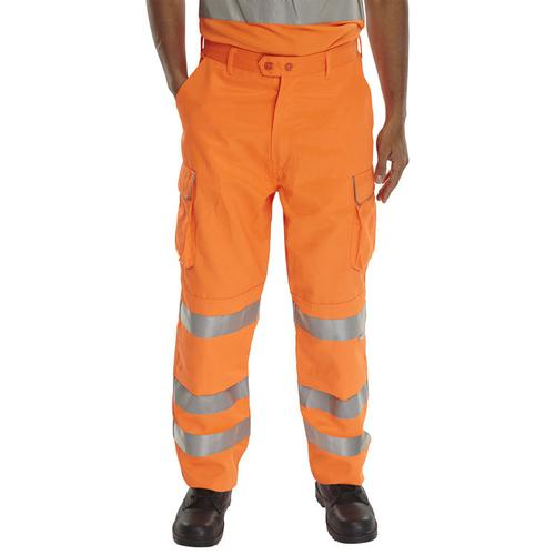 BSeen Rail Spec Trousers Teflon Hi-Vis Reflective 36-Tall Orange Ref RST36T *Up to 3 Day Leadtime*