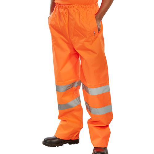 BSeen Traffic Trousers Hi-Vis Reflective Tape Large Orange Ref TENORL *Up to 3 Day Leadtime*
