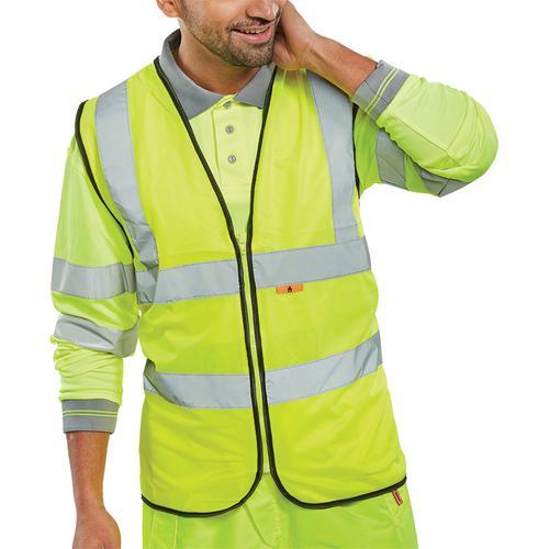 Click Fire Retardant Hi-Vis Waistcoat Polyester 2XL Saturn Yellow Ref CFRWCSYXXL *Up to 3 Day Leadtime*