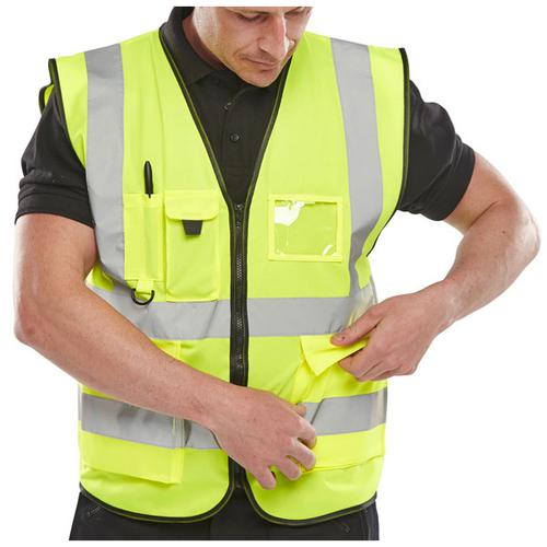 B-Seen Executive High Visibility Waistcoat 4XL Saturn Yellow Ref WCENGEXEC4XL *Up to 3 Day Leadtime*