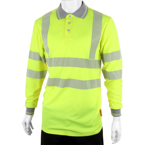 B-Seen Executive Polo Long Sleeve Hi-Vis 4XL Saturn Yellow Ref BPKEXECLSSY4XL *Up to 3 Day Leadtime*
